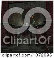 Clipart 3d Witchcraft Altar With A Crescent Moon Staff Royalty Free CGI Illustration by Ralf61