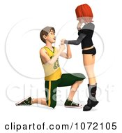 Clipart 3d Teen Boy Proposing Marriage To His Girlfriend 1 Royalty Free CGI Illustration