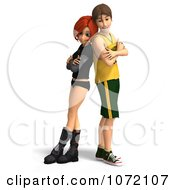 Clipart 3d Teen Couple Standing Back To Back Royalty Free CGI Illustration