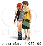 Clipart 3d Teen Couple Standing Royalty Free CGI Illustration
