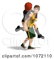Clipart 3d Teen Couple Giving Piggy Back Rides 2 Royalty Free CGI Illustration