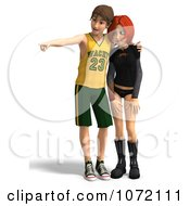 Clipart 3d Teen Couple Looking At Something 1 Royalty Free CGI Illustration