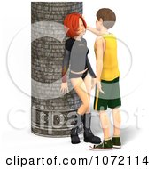 Clipart 3d Teen Couple About To Kiss By A Column Royalty Free CGI Illustration