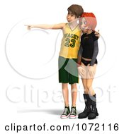 Clipart 3d Teen Couple Looking At Something 2 Royalty Free CGI Illustration