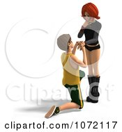 Clipart 3d Teen Boy Proposing Marriage To His Girlfriend 2 Royalty Free CGI Illustration