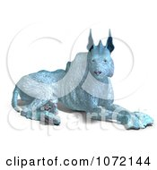 Clipart 3d Blue Alien Dog Resting Royalty Free CGI Illustration by Ralf61