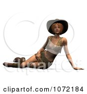 Clipart 3d Sexy Western Woman Resting In A Mini Skirt Royalty Free CGI Illustration