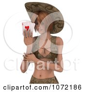 Clipart 3d Sexy Western Woman Holding Playing Cards Royalty Free CGI Illustration
