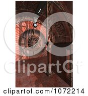 Clipart 3d Fan In A Red Rusty Industrial Interior Royalty Free CGI Illustration