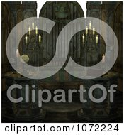 Clipart 3d Moon Cult Scene With A Crystal Ball And Candles 1 Royalty Free CGI Illustration
