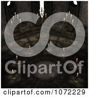 Clipart 3d Moon Cult Scene With Candles In A Circle Royalty Free CGI Illustration