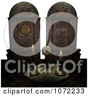 Clipart 3d Moon Cult Scene With A Crystal Ball And Candles 3 Royalty Free CGI Illustration
