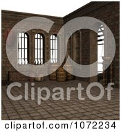 Clipart 3d Medieval Scene With Barrels 1 Royalty Free CGI Illustration