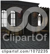 Clipart 3d Medieval Scene With Barrels 2 Royalty Free CGI Illustration