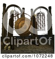 Clipart 3d Gong With Skulls And Cages Royalty Free CGI Illustration by Ralf61
