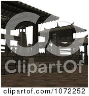 Clipart 3d Outdoor Courtyard Scene 6 Royalty Free CGI Illustration