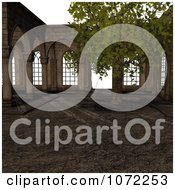 Clipart 3d Medieval Garden Courtyard Scene 1 Royalty Free CGI Illustration