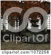 Poster, Art Print Of 3d Medieval Garden Courtyard Scene 4