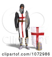 Clipart 3d Medieval Knight Standing By A Shield Royalty Free CGI Illustration by Ralf61