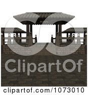 Clipart 3d Outdoor Courtyard Scene 1 Royalty Free CGI Illustration