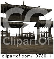 Clipart 3d Outdoor Courtyard Scene 2 Royalty Free CGI Illustration