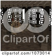 Clipart 3d Outdoor Courtyard Scene 5 Royalty Free CGI Illustration