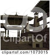 Clipart 3d Outdoor Courtyard Scene 7 Royalty Free CGI Illustration