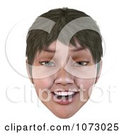 Clipart 3d Short Haired Girls Face Smiling 2 Royalty Free CGI Illustration