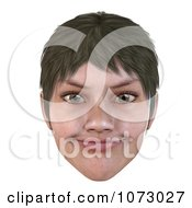 Clipart 3d Short Haired Girls Face Smiling 3 Royalty Free CGI Illustration by Ralf61