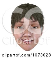 Clipart 3d Short Haired Girls Face Smiling 4 Royalty Free CGI Illustration by Ralf61