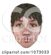 Clipart 3d Short Haired Girls Face With Puckered Lips Royalty Free CGI Illustration