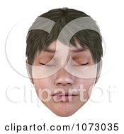 Clipart 3d Short Haired Girls Face With Closed Eyes Royalty Free CGI Illustration