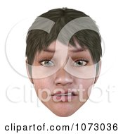 Clipart 3d Skeptical Short Haired Girls Face Royalty Free CGI Illustration by Ralf61
