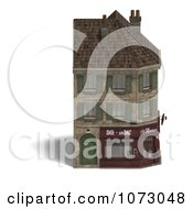 Clipart 3d Vintage Corner Bistro Building 1 Royalty Free CGI Illustration
