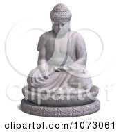 Clipart 3d Stone Buddha Statue 1 Royalty Free CGI Illustration
