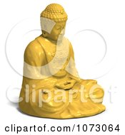 Clipart 3d Yellow Buddha Statue 1 Royalty Free CGI Illustration