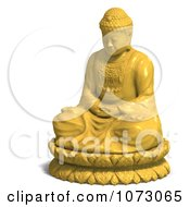 Clipart 3d Yellow Buddha Statue 2 Royalty Free CGI Illustration