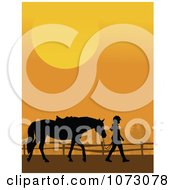 Clipart Silhouetted Girl Leading Her Horse Against An Orange Sunset Royalty Free Vector Illustration