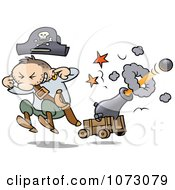 Clipart Pirate Jumping And Plugging His Ears While A Cannon Shoots A Ball Royalty Free Vector Illustration by gnurf #COLLC1073079-0050