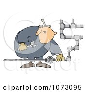 Clipart Natural Gas Valve Repair Man Royalty Free Vector Illustration