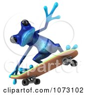 Clipart 3d Blue Springer Frog Skateboarding 3 Royalty Free CGI Illustration
