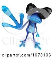 3d Waving Blue Springer Frog Wearing Shades