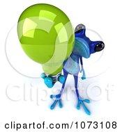 3d Blue Springer Frog Holding A Green Eco Light Bulb 3