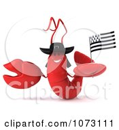 3d Red Lobster Holding A Breton Flag 1