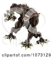Clipart 3d Attacking Werewolf Royalty Free Vector Illustration