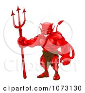 Clipart Strong Red Devil Standing With A Pitchfork Royalty Free Vector Illustration by AtStockIllustration