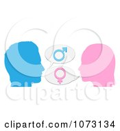 Clipart Silhouetted Man And Woman With Gender Balloons Royalty Free Vector Illustration by AtStockIllustration