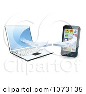 Clipart 3d Cell Phone Syncing With A Laptop Computer Royalty Free Vector Illustration