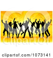Clipart Silhouetted Dancers Against Orange Rays And Music Notes Royalty Free Vector Illustration