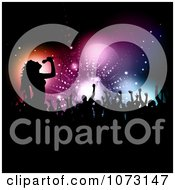Clipart Silhouetted Singer And Audience Royalty Free Vector Illustration